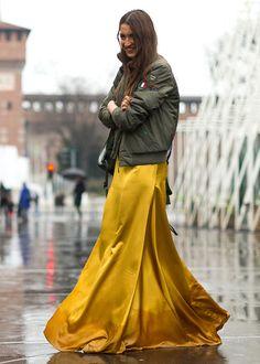 yellow long dress bomber jacket street style
