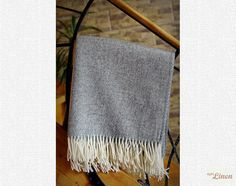 Beautiful Weaving Grey Merino Wool Throw Blanket by EpicLinen https://www.etsy.com/shop/EpicLinen