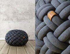 Knotty Floor Cushion By Kumekodesign. trenzado  tejer negro uff asiento informal