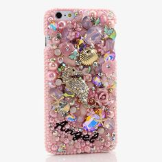 Bling Cases, Personalized Name Custom Made Crystals pink seahorse design case for iphone 6 / 6s Plus, iphone 5/5s, Samsung Galaxy S7 S6, S6 Edge, S5, Note 5, Note 6, LG, HTC, Sony – LuxAddiction.com