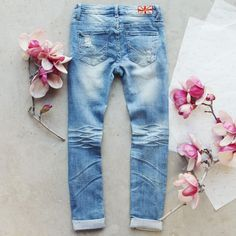 Indigo Sky Crop Jeans, Darling Distressed Denim Jeans from Spool 72. | Spool No.72