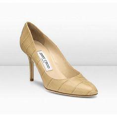 Jimmy Choo Gilbert 85Mm Nude Mock Croc Shoes,Satin High Heels