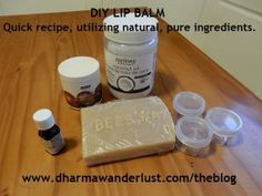 A combination of coconut oil and shea butter makes an excellent moisturizer for the lips. About a year ago, I started to concoct my own lip balm using a few of my favourite clean and natural ingredients. I use it myself on a daily basis and gift it to others at Christmas to help us enjoy the winter season with healthy skin.   #diy #skincare #lipbalm #natural #pureingredients