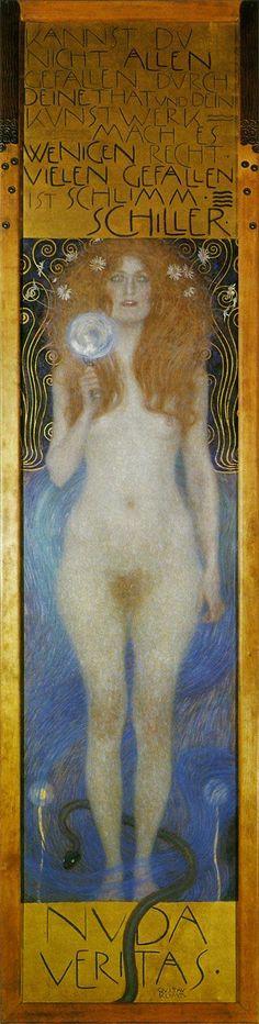 """ドイツ語圏の芸術bot on Twitter: """"グスタフ・クリムト『裸の真実』(1899) Gstav Klimt - Nuda Veritas #ウィーン分離派  https://t.co/v18DcMDmIYウィーン分離派"""""""