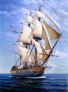 Sailboat Art, Sailboat Painting, Nautical Art, Sailboats, Ship Paintings, Seascape Paintings, Compass Art, Old Sailing Ships, Ship Drawing