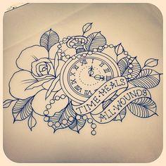 Tattoos, flower tattoos ve tattoo drawings. Time Tattoos, New Tattoos, Sleeve Tattoos, Tatoos, Time Heals Tattoo, Rip Dad Tattoos, Ship Tattoos, Hand Tattoos, Tattoo Sketches