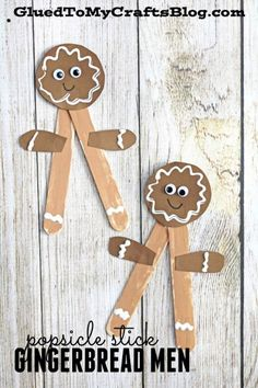 Popsicle Stick Gingerbread Men - Christmas Themed Kid Craft Idea