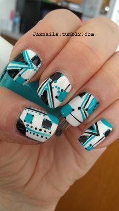 Turquoise & black geometrics on white base nail art design