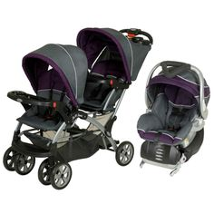 The tandem Sit-N-Stand Double travel system accepts two infant car seats and features five-point child restraint safety harness. This set includes a Sit-N-Stand Double stroller, a Flex-Loc infant car seat in Elixer, and a Flex-Loc stay in car base.