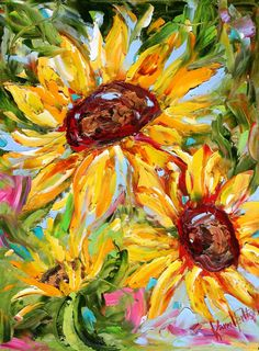 Original painting SUNFLOWER abstract MODERN by Karensfineart