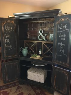 Reclaimed wood wine bar cabinet industrial lighting # storagearmoirermöbelmöbel - Home Decor Armoire Bar, Bar Furniture, Furniture Makeover, Painted Furniture, Furniture Design, Wine Bar Cabinet, Wine Cabinets, Wine Hutch, Organizar Closets