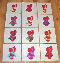 "Set of 12 Scrappy Sunbonnet Sue w/Red  6"" x 6""  Cotton Quilt  Blocks  
