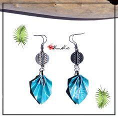 Boucles d'oreilles papier pliage origami, feuilles tropicales et connecteurs ethnique argenté, motifs ethnique, Turquoise, Blanc, bijoux : Boucles d'oreille par sunkris