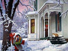 Christmas RFD by John Sloane. Jenn a mirror image of your house :-) Christmas Mail, Christmas Scenes, Merry Christmas To All, Vintage Christmas Cards, Country Christmas, Christmas Pictures, Winter Christmas, Christmas Rugs, Winter Pictures