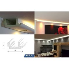 Popular BENDU Moderne Stuckleisten bzw Lichtprofile f r indirekte Beleuchtung von Wand und Decke aus Hartschaum