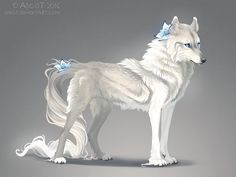 Lilly Beta Female at Hidden Valley Creates flowers with razor sharp petals that she throws. Mother of Keet, Maia, SilverTip, and Skipper. Anime Wolf, Pet Anime, Anime Animals, Cute Animals, Mystical Animals, Mythical Creatures Art, Magical Creatures, Wolf Artwork, Fantasy Wolf