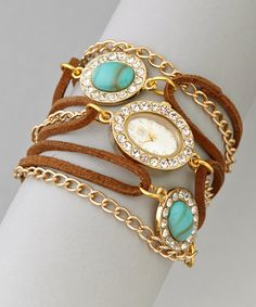 Turquoise & Gold Oval-Stone Wrap Watch | zulily