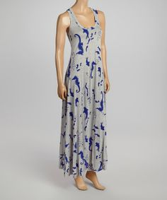 Love this Navy & Gray Seahorse Maxi Dress by Rubber Ducky Productions on #zulily! #zulilyfinds