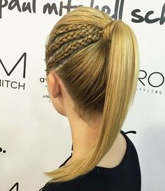 triple+side+braid+into+pony+hairstyle