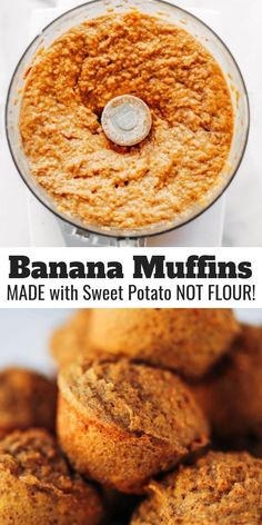 51 calorie banana muffins made out of special potatoes rather than flour! Nutritious paleo banana bread muffins help make simple paleo breakfasts for on the run. Kid helpful paleo snack thought. Sweet Potato Flour, Sweet Potato Muffins, Paleo Sweet Potato, Sweet Potato Breakfast, Comidas Paleo, Desayuno Paleo, Paleo Banana Muffins, Healthy Muffins, Healthy Food