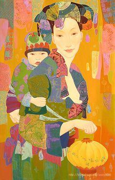 Love Painting, Silk Painting, Illustrations, Illustration Art, Realism Art, Magazine Art, Community Art, Medium Art, Baby Wearing