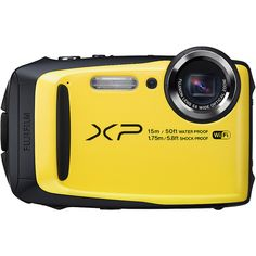 """Fujifilm Xp90 Waterproof Digital Camera With 3.0"""" Lcd (25135 RSD) ❤ liked on Polyvore featuring yellow"""