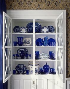 Cobalt Blue Glass & Chinese Pottery
