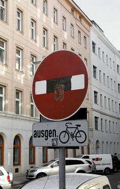 Dan Witz street art in Vienna, Austria Street Art News, Street Art Graffiti, Street Artists, Brick In The Wall, Dear Lord, Street Signs, Chalk Art, Banksy, Rue