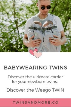"""If there is one product that EVERY parent of twins needs – it's a Weego Twin Baby Carrier: The ultimate carrier for your newborn twins.  The Weego TWIN has been deemed a """"lifesaver"""" by many a new twin parent, and that is absolutely what it is - a lifesaver.  The carrier is specifically designed for newborn twins from birth to around 5-6 months and it's also suitable for premature babies from 4 lb (1.800 g).  Learn all about the Weego Twin and why I know you will LOVE using it... Breastfeeding Twins, Expecting Twins, Newborn Twins, Twin Mom, Twin Babies, Twin Carrier, Twin Strollers, Nursery Twins, Twin Tips"""