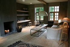 Moka & Vanille: Restored Farmhouse Luxury in Belgium - Remodelista Moka, Design Hotel, House Design, Restored Farmhouse, Belgian Style, Dark Walls, Living Spaces, Living Room, Rustic Interiors