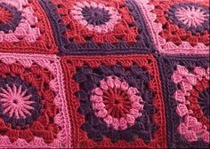 Mixed Berry Tarts Granny Squares Throw: free pattern