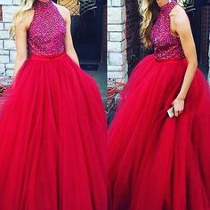 2017 Custom Made Rosy Beading Prom Dress,Halter Evening Dress,Tulle Party Gown,Floor Length Pegeant Dress,High Quality