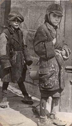 Drohobycz, Ukraine. Two Jewish children in the camp.