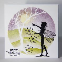 The Other Fickle Pixie: Stardust Fairy Simple Birthday Cards, Handmade Birthday Cards, Handmade Cards, Card Io, Card Tags, Cardio Cards, Lavinia Stamps, Tree Stencil, Stencils