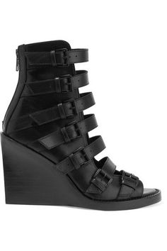ANN DEMEULEMEESTER Buckled leather wedge sandals.  anndemeulemeester  shoes   sandals Sapatos e2de42537ad