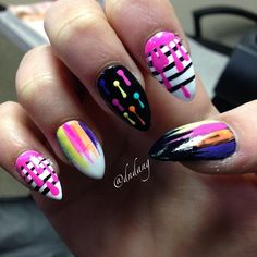 Neon and Pinstripe Nails With Paint Drip Detail