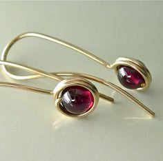 Red Garnet Gold Earrings, Garnet Drop Earrings, 5mm Gemstone Drops, Modern Minimalist Earrings, January Birthstone