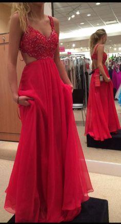 sexy red prom dress,chiffon long prom dress,beading V-neck evening dress,spaghetti strap open back party dress