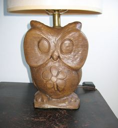 Plaster OWL Lamp  Vintage 1970's  Kitsch Mid by TheGrooveVintage, $74.95