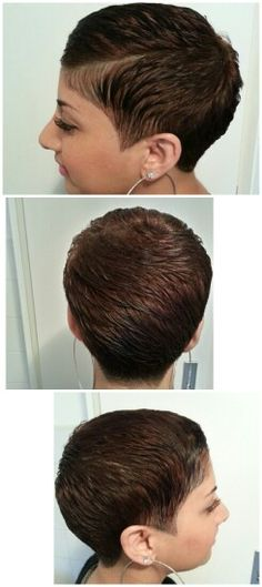Auburn pixie cut, with a soft undercut.