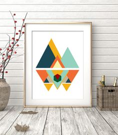 Mid Century Modern Art Wall Art Print Geometric Print by OhFinale