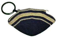 Art Deco Purse 1920's Hand Made Fan Shape Black Stripe Crocheted Wristlet   #Handmade #Wristlet