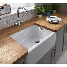Simply Hygena Southfield - Grey - Belfast Under Sink Unit Beech Kitchen, Kitchen Dining, Dining Area, Under Sink Unit, Ikea Kitchen Organization, Small Kitchen Remodel Cost, Kitchen Worktop, Kitchen Sinks, Butler Sink