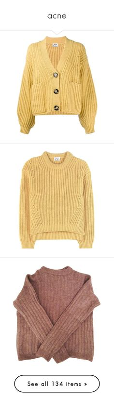 """""""acne"""" by sabina-127 ❤ liked on Polyvore featuring tops, cardigans, outerwear, jackets, cut-out crop tops, acne studios, beige cardigan, beige top, beige crop top and sweaters"""