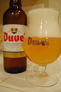 Duvel, a wonderful golden Belgian ale and one of my favorites, the glass rocks too!