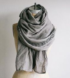 Grey Linen Printed Text Scarf