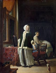 Frans van Mieris the Elder (Dutch, Lady at her Toilet (c. The Hermitage Museum, St. European Paintings, Old Paintings, Dutch Golden Age, Catherine The Great, Hermitage Museum, Dutch Painters, Mirror Art, Dutch Artists, Art Database