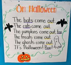Halloween Language Arts Ideas :First Grade Fresh: Halloween poem Kindergarten Poems, Preschool Songs, Kids Songs, Preschool Journals, Preschool Projects, Preschool Curriculum, Preschool Learning, Kindergarten Classroom, Kids Crafts