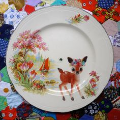 Flower Deer in Secret Cove Cake Stand or Large Vintage Illustrated Plate