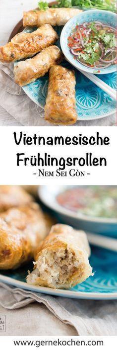 Ein bisschen Fernweh? Dann sind unsere vietnamesischen Frühlingsrollen - Nem Sei G�n - genau das Richtige für Euch. Knuspriger Teig gefüllt mit Glasnudeln, Hackfleisch, Möhren und mehr. #asianfood #asiatisch #springrolls #spring #rolls #vietnamese #vietn